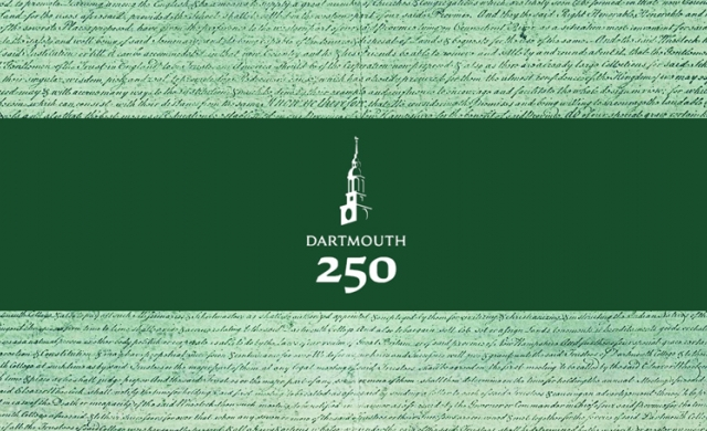Charter with green label over with Dartmouth 250 logo