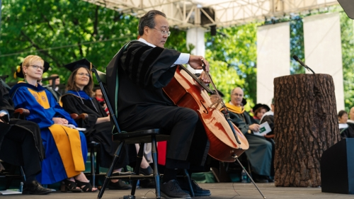Yo-Yo Ma plays the cello on stage