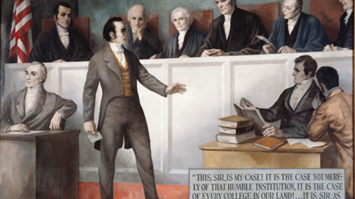 A painting by Robert Clayton Burns of Daniel Webster arguing the Dartmouth College Case