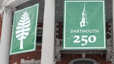 Dartmouth 250 banners in front of Collis