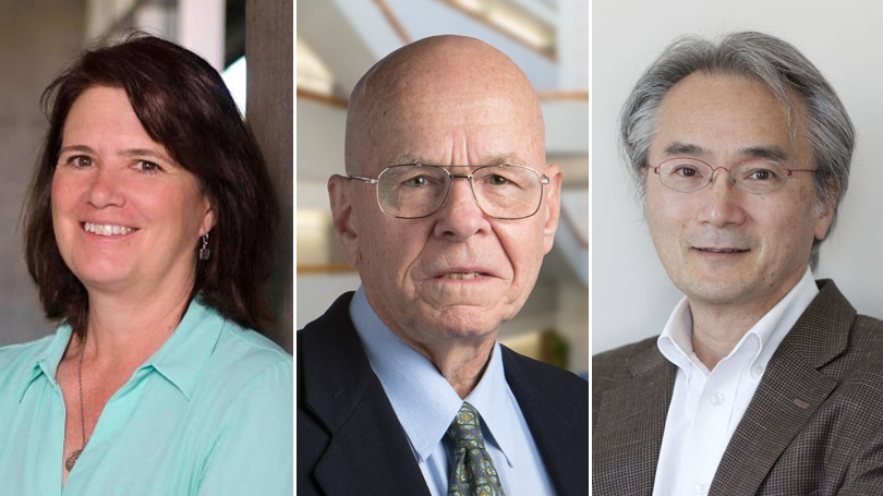 Portraits from left to right of Fiona Harrison, K. Barry Sharpless, and Paul Matsudaira