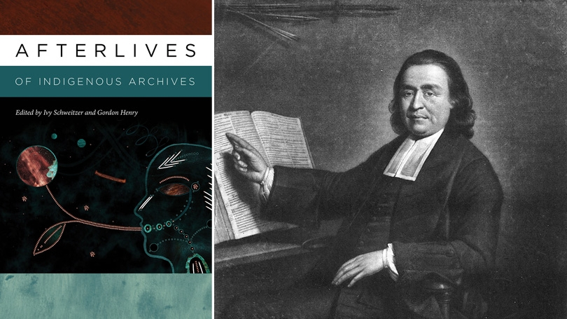 At left, a picture of the book's cover. At right is a portrait of Samson Occom.