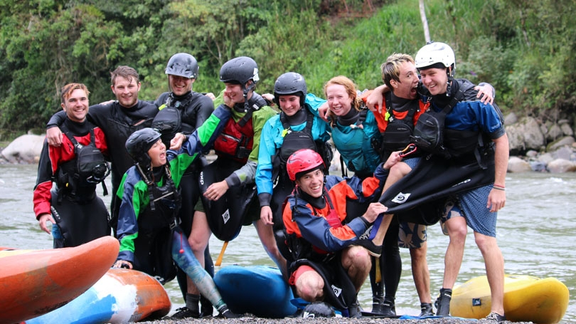 Members of the Ledyard Canoe Club during a 2018 whitewater paddle adventure in El Chaco, Ecuador, are, from left, Michael Schedin '20, Sheppard Somers '19, Katie Bogart '20 (crouching), Coby Gibson '21, Charlie Pike '22, Kat Adelman '21, Robert Livaudais