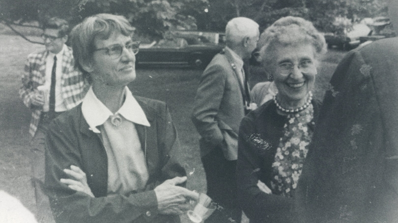 Professor of Biology Hannah Croasdale, left, and Mildred Morse, secretary and curator in the art department, at a convocation event in 1969