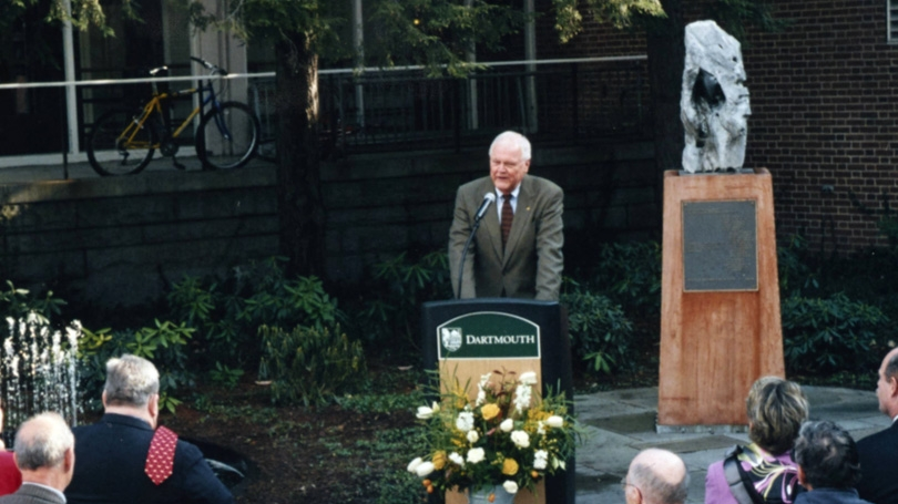President Emeritus James Wright spoke at the rededication of Zahm courtyard in 2001.