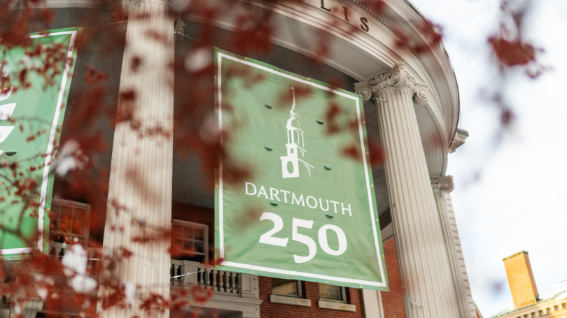 Dartmouth 250 Banner Outside Collis