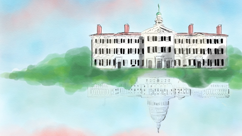 """Dartmouth College: A History of Public Service"" opens with a graphic created by Project Manager Varsha Iyer '21 that features the U.S. Capitol as a reflection of Dartmouth Hall."