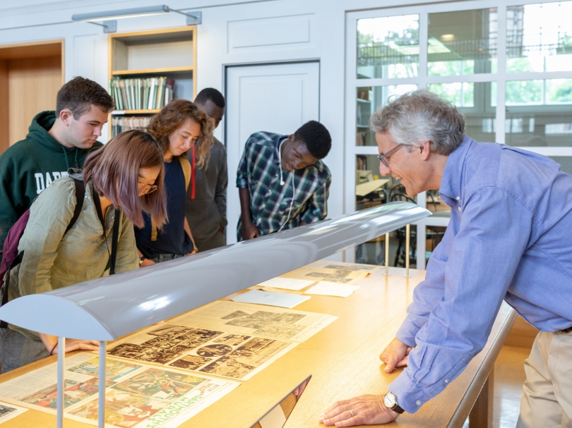 Jay Satterfield, the library's head of special collections, with students