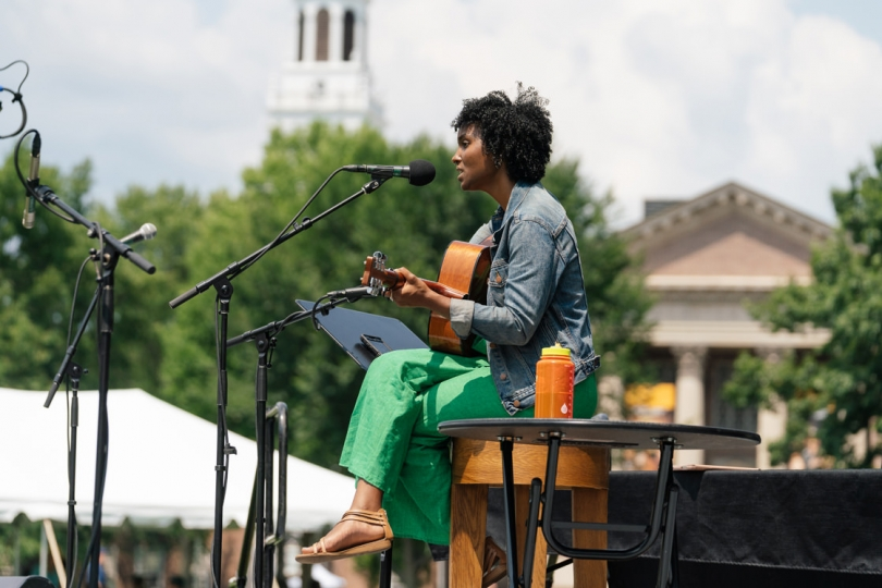 Raleigh Nesbitt '19, the winner of this past spring's Dartmouth Idol competition, entertains the crowd during the midday portion of the celebration. (Photo by Eli Burakian '00)