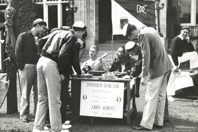 First year trips 1950s - DOC running a table in front of Robinson Hall to sign new students up for the club