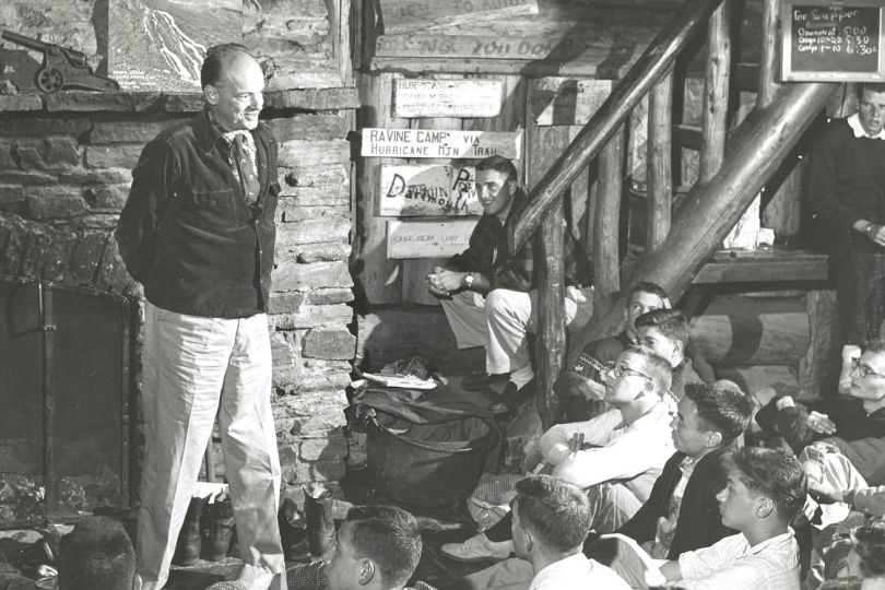 Dickey speaks to first years, 1956