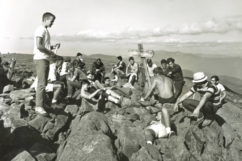 1968 | A group of students on Mount Moosilauke during the Class of 1972's first-year trip.