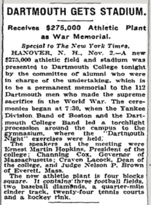 Memorial Field Announced 1923 - New York Times